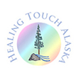 Healing Touch Alaska Logo: Spruce tree with boulder and stream.